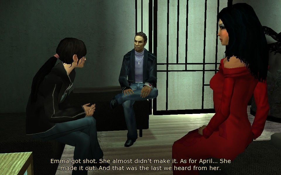 Dreamfall: The Longest Journey Windows Zoe, talking to April's close friends.