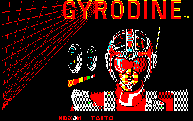 Gyrodine Sharp X1 Red title screen, besides the default blue one, there's 3 other colors
