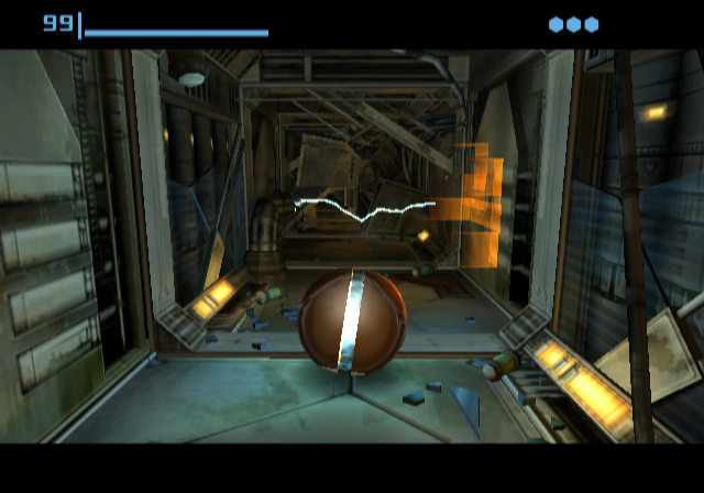 Metroid Prime GameCube Use spider-ball mode to get through this tight passage.