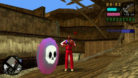 Grand Theft Auto: Vice City Stories PSP Foreground: Rampage icon. Background: one of 99 red balloons hidden throughout the city.