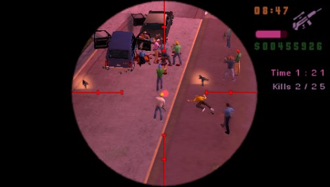 Grand Theft Auto: Vice City Stories PSP Having fun with sniper rifle