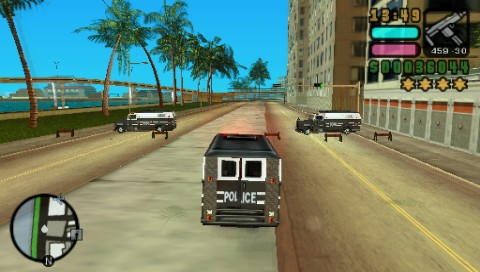 Grand Theft Auto: Vice City Stories PSP Fours stars wanted level. Maybe they will take me for a fellow cop?