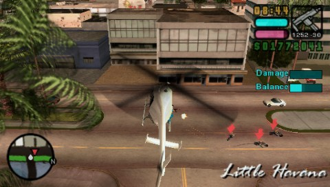 Grand Theft Auto: Vice City Stories PSP Shooting some bad guys in a helicopter mission