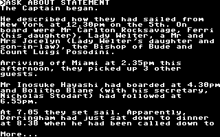 Murder off Miami Commodore 64 A statement from the captain of the vessel.
