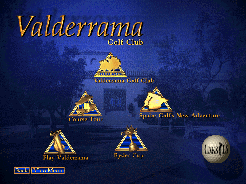 Links LS: Championship Course - Valderrama DOS Main menu