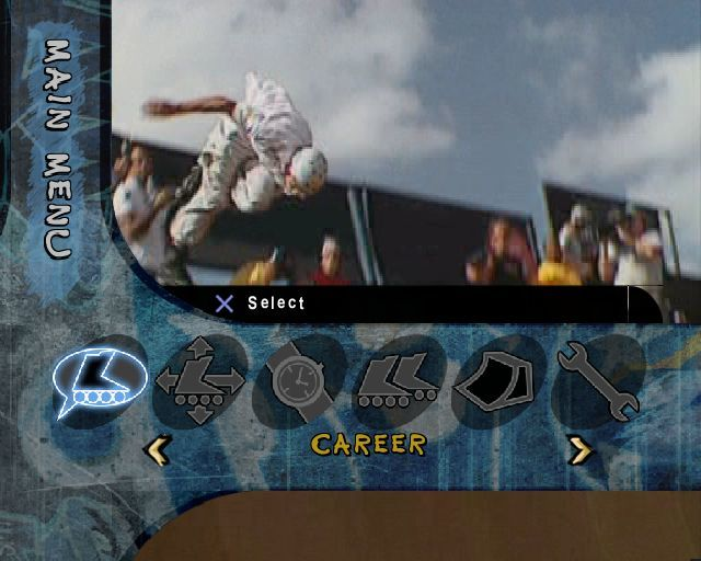 Aggressive Inline PlayStation 2 The game's main menu. All menus are shown over a video montage which is quite distracting. The icons are for Career mode, Freestyle, Timed Run, Multiplayer, Park Editor and Options