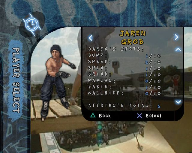 Aggressive Inline PlayStation 2 The character selection screen. The player can choose an existing skater and rename them.