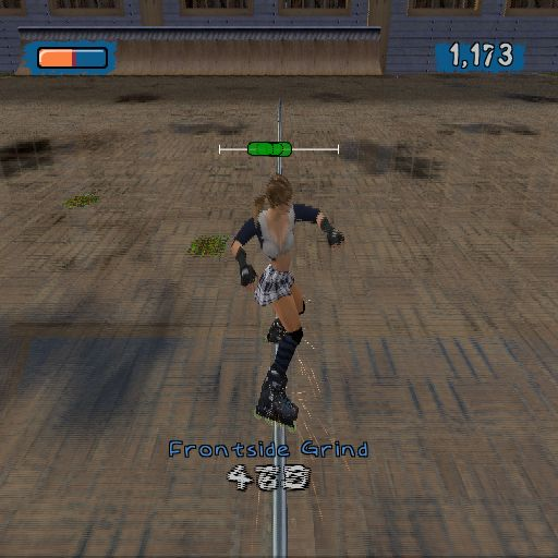 Aggressive Inline PlayStation 2 This is one of the tricks that can be performed. Skate near an edge. Press cross to jump, press triangle to grind, use left/right to balance