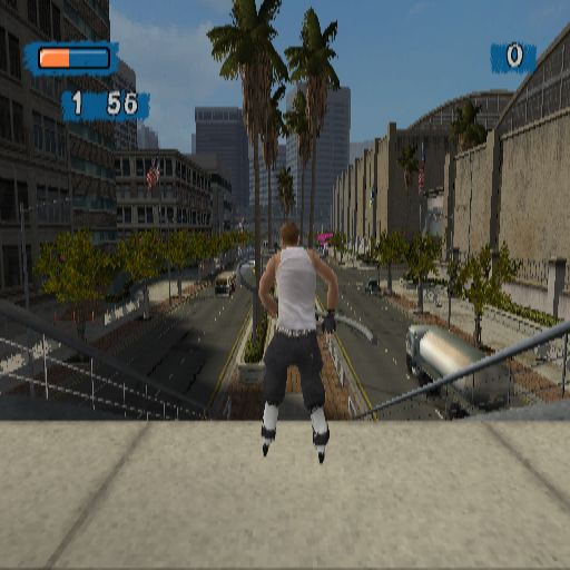 Aggressive Inline PlayStation 2 A Timed Run through the Movie Lot environment, (all other areas are locked at the start of the game). This is the view from the top of the ramp at the start