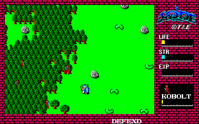 Hydlide Sharp X1 Start of the game, unlike the PC-88 original the screen scrolls in this Sharp X1 version