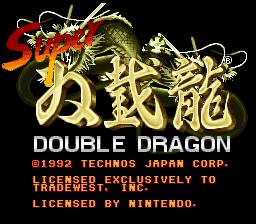 Super Double Dragon SNES Title screen