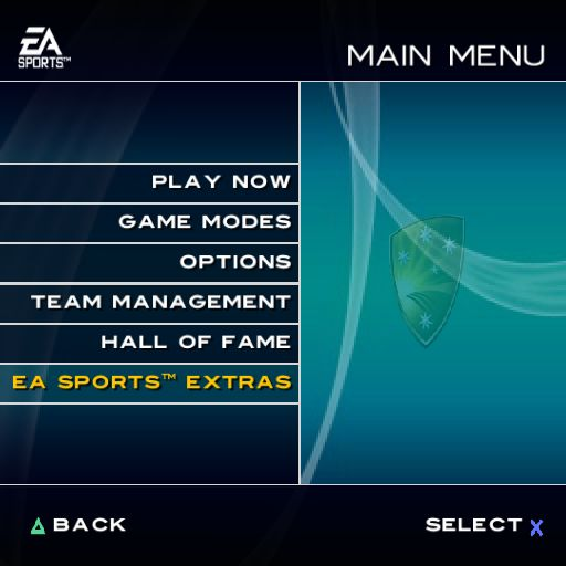 Cricket 2004 PlayStation 2 The game's main menu
