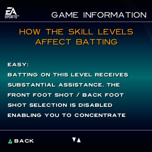 Cricket 2004 PlayStation 2 The EA Extras option from the main menu gives the player three further options. the game's Credits, a preview of a rugby game, and information on the game. This describes the EASY mode