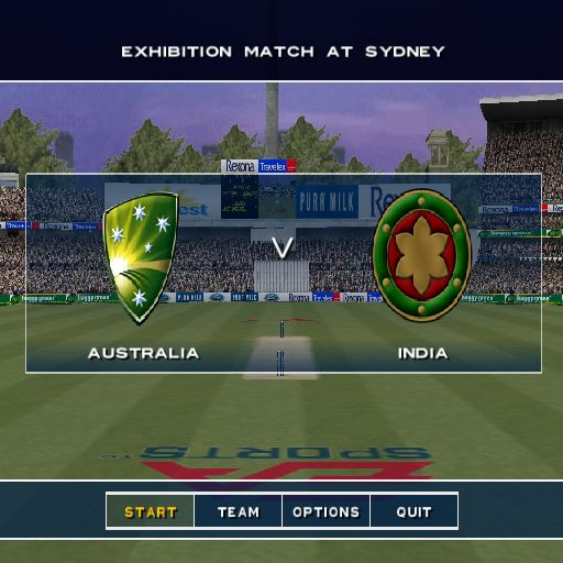 Cricket 2004 PlayStation 2 Before the match starts there's a flyby of the ground, a close up of the wicket and so on. The options at the bottom of the screen allow the player to change the team and configure the game