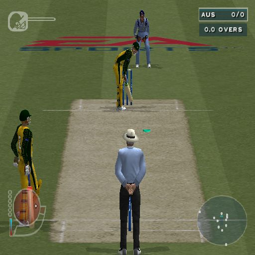 Cricket 2004 PlayStation 2 There's a nice animation showing the players taking position on the field. Here Australia await the first ball. The green spot is an optional aid showing where the ball will land
