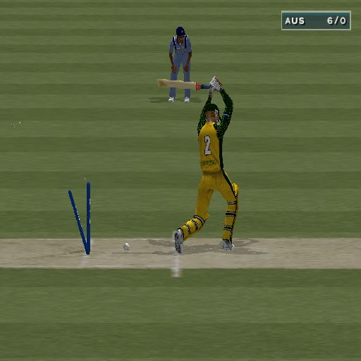 Cricket 2004 PlayStation 2 He's out!. When a player is dismissed the ball is replayed from multiple points of view, this is one such replay