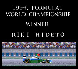 Human Grand Prix III: F1 Triple Battle SNES Winning the Championship.