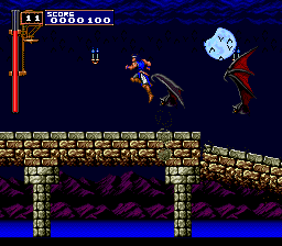 Castlevania: Rondo of Blood TurboGrafx CD One of the later levels. Very, very tough. You'll have to deal with those oversized bats while constantly jumping forward due to the poor quality of the floor