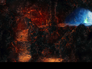 Chrono Cross PlayStation Crossing an ominous, yet pretty fire cave