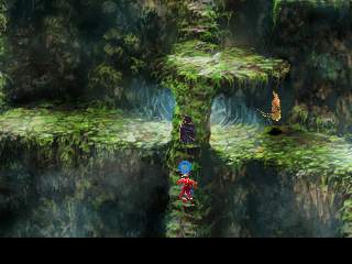Chrono Cross PlayStation Enemies are watching us as we climb to the top - a typical Japanese RPG situation