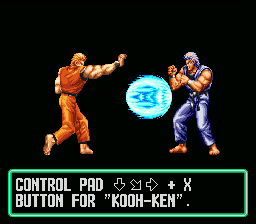 Art of Fighting SNES After you pass the bonus rounds, the game will teach you a new special move! Pictured: Koohken.