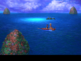 Chrono Cross PlayStation Lovely scene with two boats meeting each other
