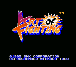 Art of Fighting SNES The game's title screen.
