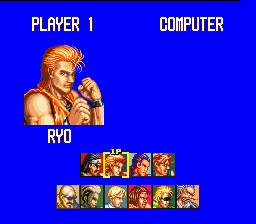 Art of Fighting SNES The Versus mode. You can use everyone, even the bosses!