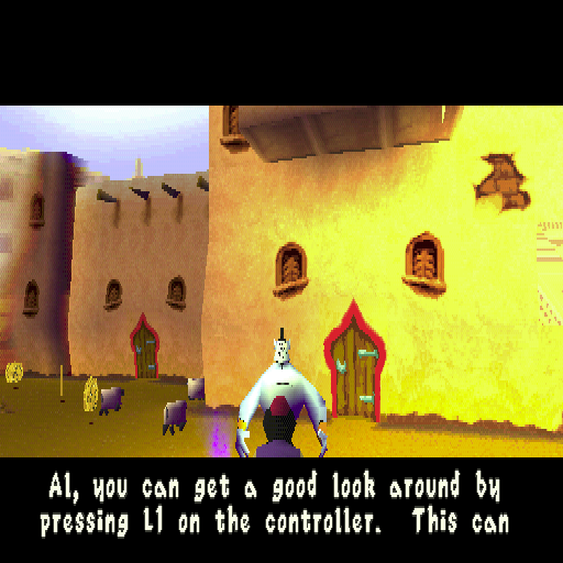 Disney's Aladdin in Nasira's Revenge PlayStation In the early stages Aladdin runs into a lot of gold coins and lamps. Each lamp is an information point where the genie pops up and explains the game's controls
