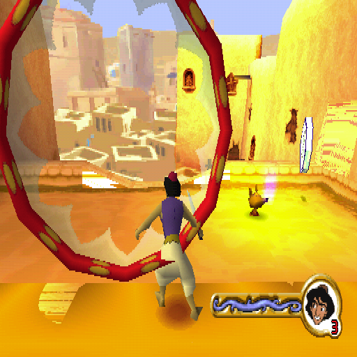 Disney's Aladdin in Nasira's Revenge PlayStation The big hoop thing is a checkpoint and the silver token is an important genie token that's used to grant wishes at the end of the level