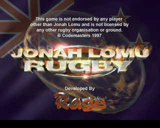 Jonah Lomu Rugby PlayStation The game's title screen