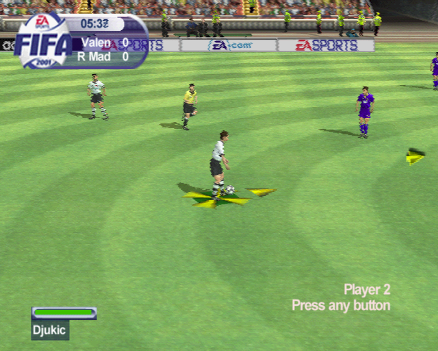FIFA 2001 PlayStation 2 This is how the player in possession of the ball is indicated. The cross, circle, square and triangle buttons all produce different kinds of shot, lob, pass etc.