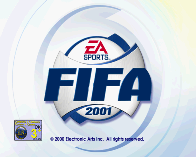 FIFA 2001 PlayStation 2 The game's title screen