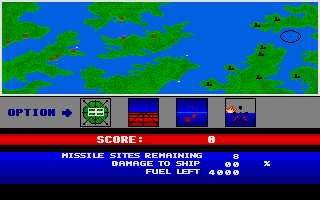 Final Legacy Atari ST Main menu in game - switch to map, land attack, flak and ship fight