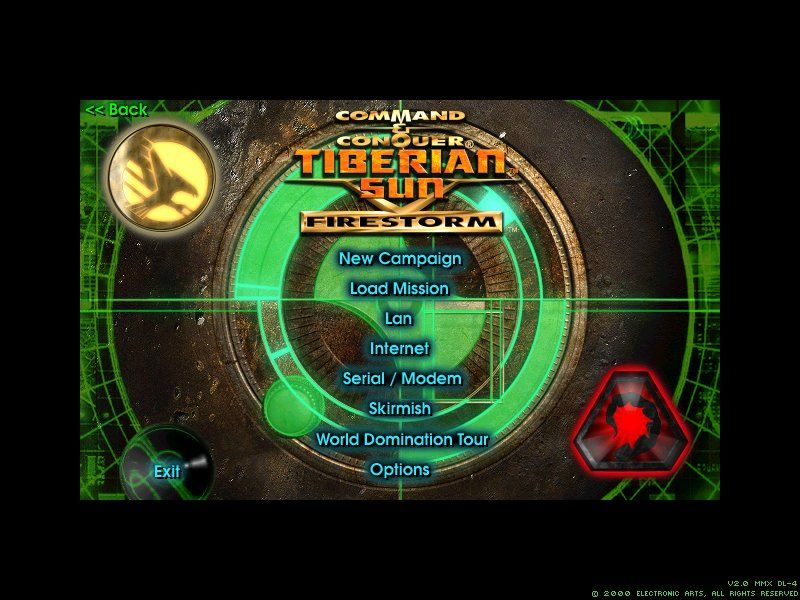 Command & Conquer: Tiberian Sun - Firestorm Windows main menu