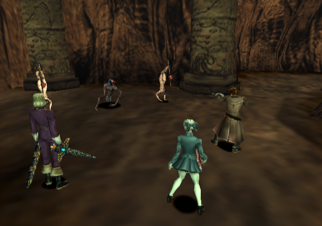 Shadow Hearts PlayStation 2 Fighting assorted baddies in a cave dungeon in England