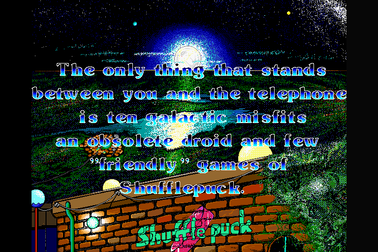 "Shufflepuck Cafe Sharp X68000 ""Friendly"" game of Shufflepuck to get to the telephone, you say? Jolly good!"