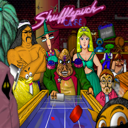 "Shufflepuck Cafe Sharp X68000 Main menu where you can click on each bar patron/weirdo to engage them in an air hockey duel or click the ""Champion"" sign to enter a tournament and face each character in turn"
