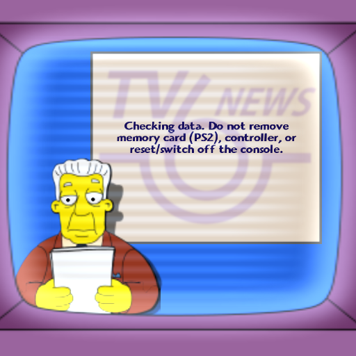 The Simpsons Game PlayStation 2 Even the save-load screen is stylized as a news report from The Simpsons!