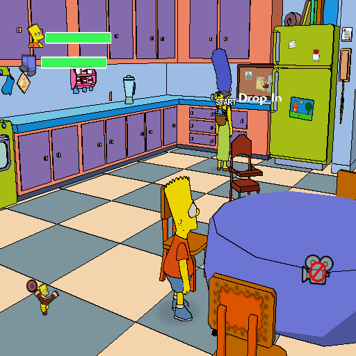 The Simpsons Game PlayStation 2 You can explore the house between the missions. Unfortunately, you can't explore the rest of Springfield! The free-roaming mode is not present in this version...