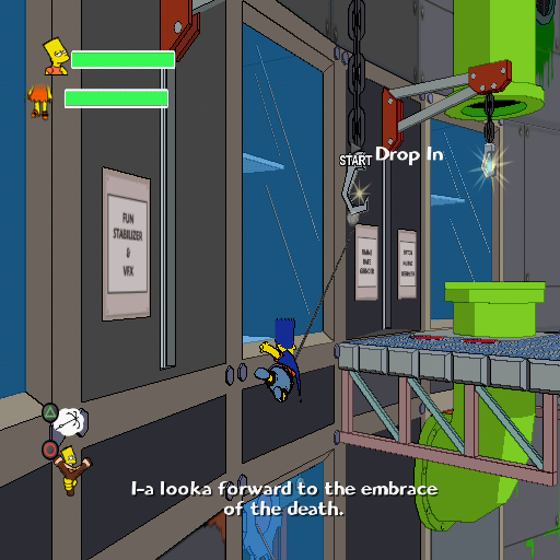 "The Simpsons Game PlayStation 2 Bart is using his ""Bartman"" gliding ability!"
