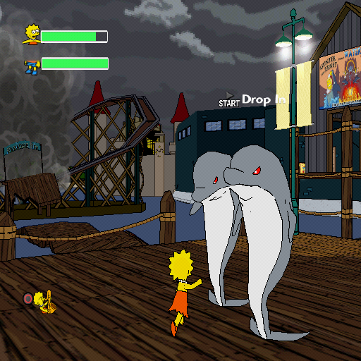 The Simpsons Game PlayStation 2 Lisa is fighting evil dolphins