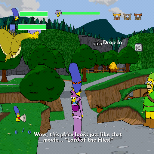 The Simpsons Game PlayStation 2 Destroy the dragon Selma before she burns the village!