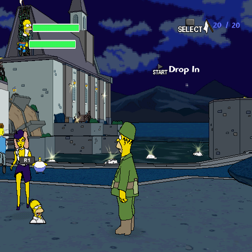 The Simpsons Game PlayStation 2 Homer is staring at French women in front of a church