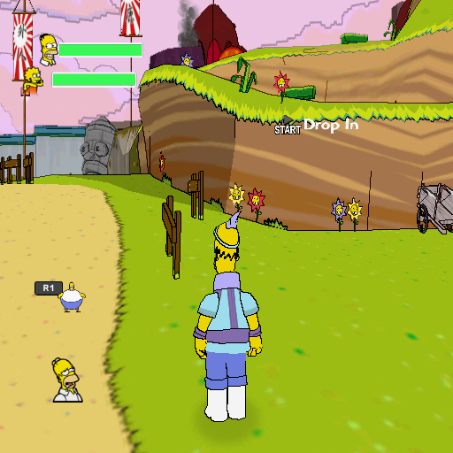 The Simpsons Game PlayStation 2 Homer in a cheerful Japanese game