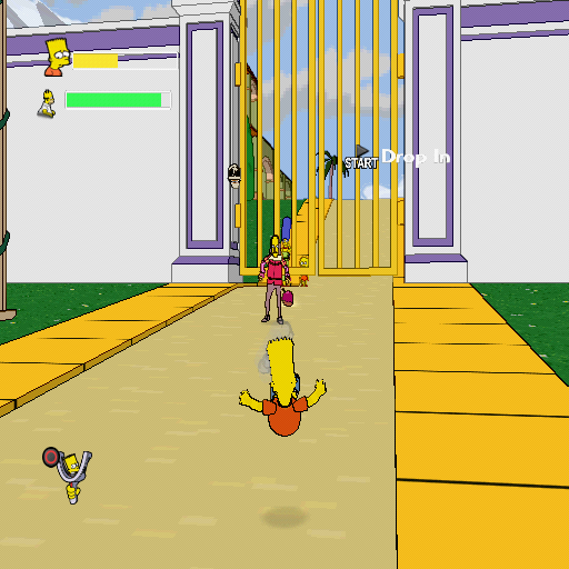 The Simpsons Game PlayStation 2 One of the later levels. Bart is being knocked down by a Hamlet-wannabe