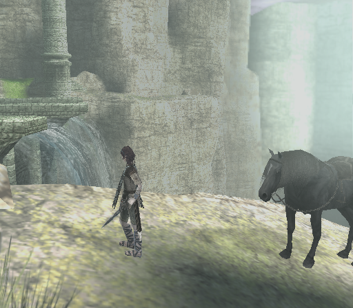 Shadow of the Colossus PlayStation 2 A peaceful scene near a waterfall