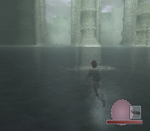 Shadow of the Colossus PlayStation 2 Swimming through the sunken ruins of a great palace