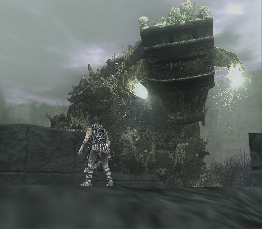 Shadow of the Colossus PlayStation 2 Wow. This colossus truly looks like a whole city. He is also quite big. And he shoots stuff at you