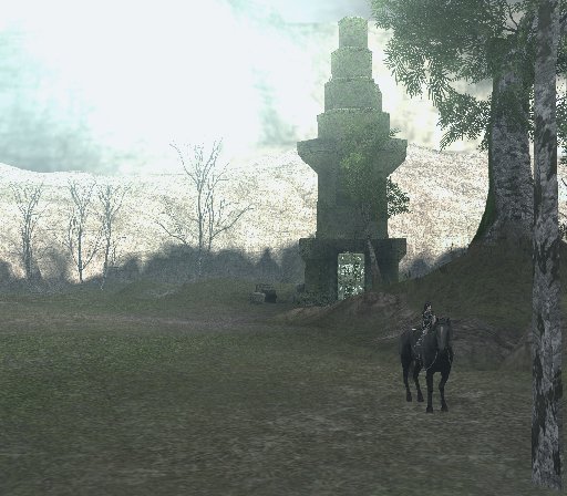 Shadow of the Colossus PlayStation 2 Serene, mild environment - a sad forest with a small cozy building